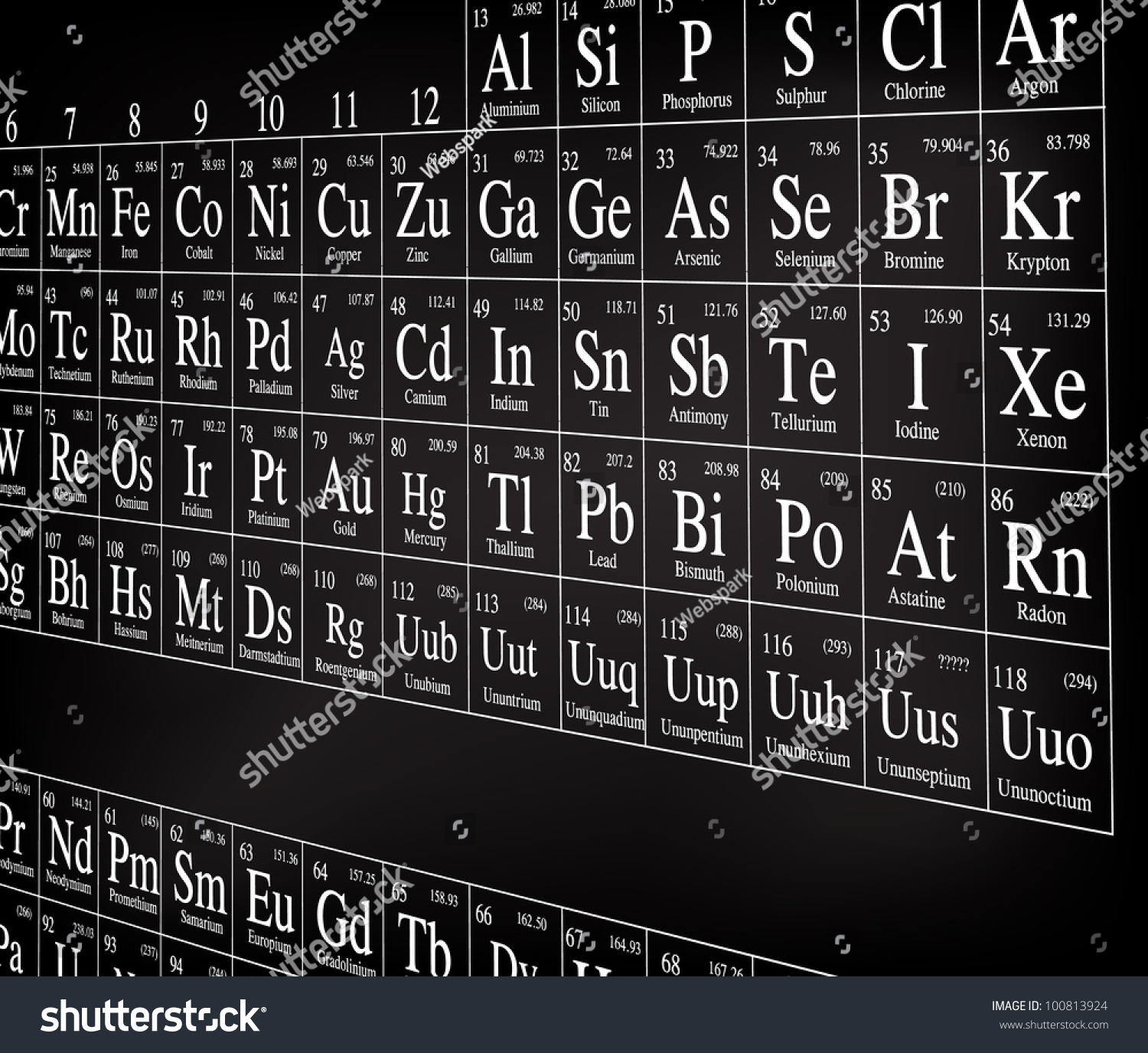 Periodic table black perspective stock vector 100813924 shutterstock periodic table black perspective gamestrikefo Gallery