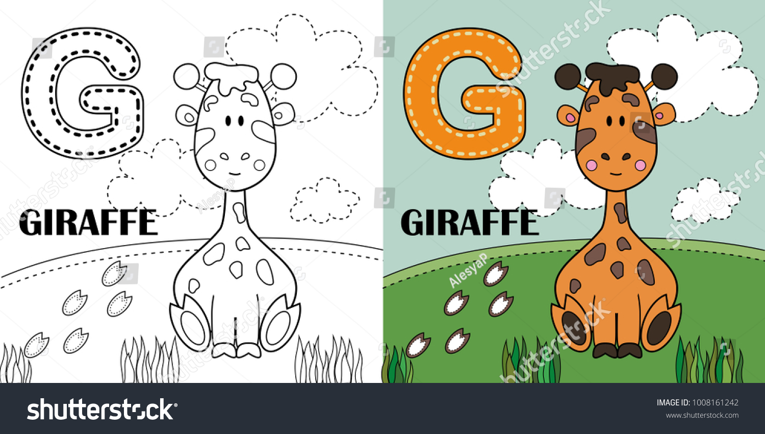 G Letter Giraffe Coloring Book Page Stock Vector (Royalty Free ...