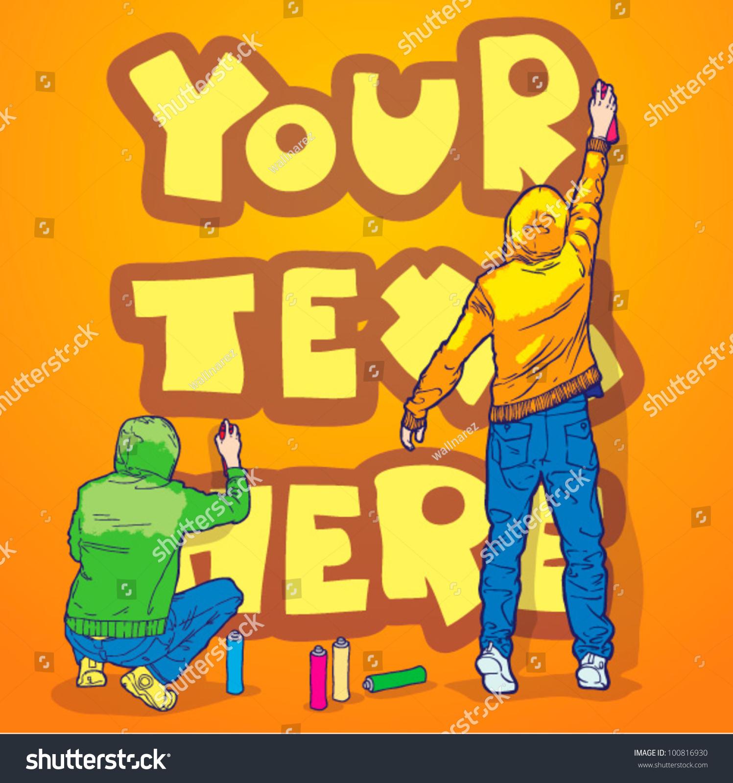 Your Text Written On Wall Graffiti Stock Vector 100816930 - Shutterstock