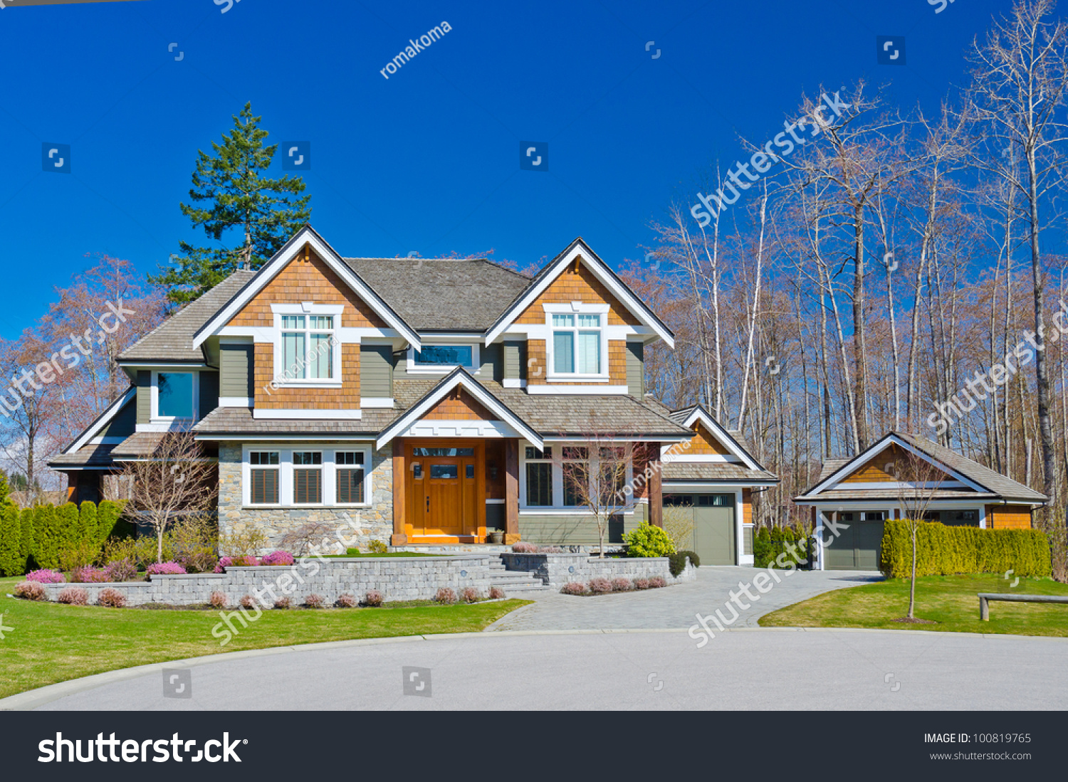 Big luxury home detached garage suburbs stock photo for House with big garage