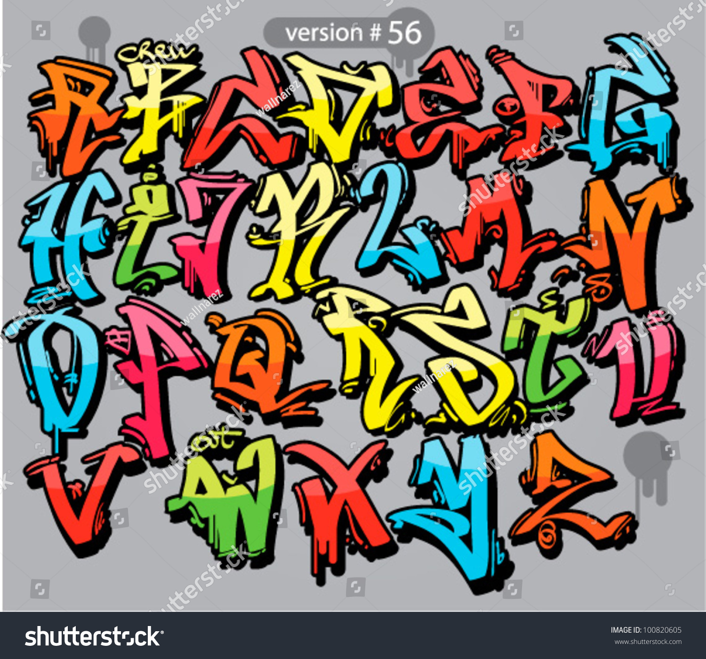 Alphabet Graffiti Style Urban Font Stock Vector 100820605