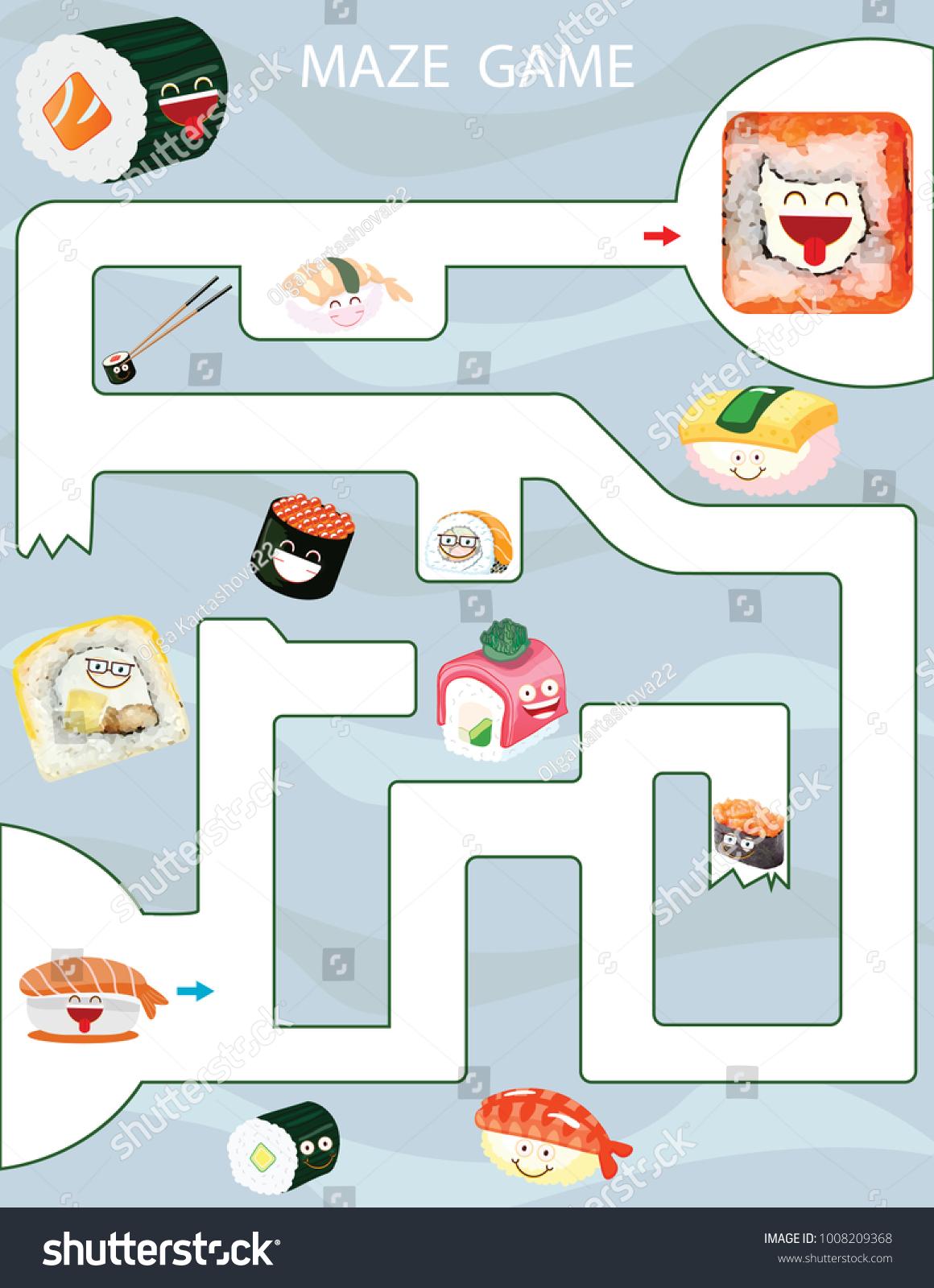 Maze Game Kids Printable Game Vector Stock Vector (Royalty Free ...