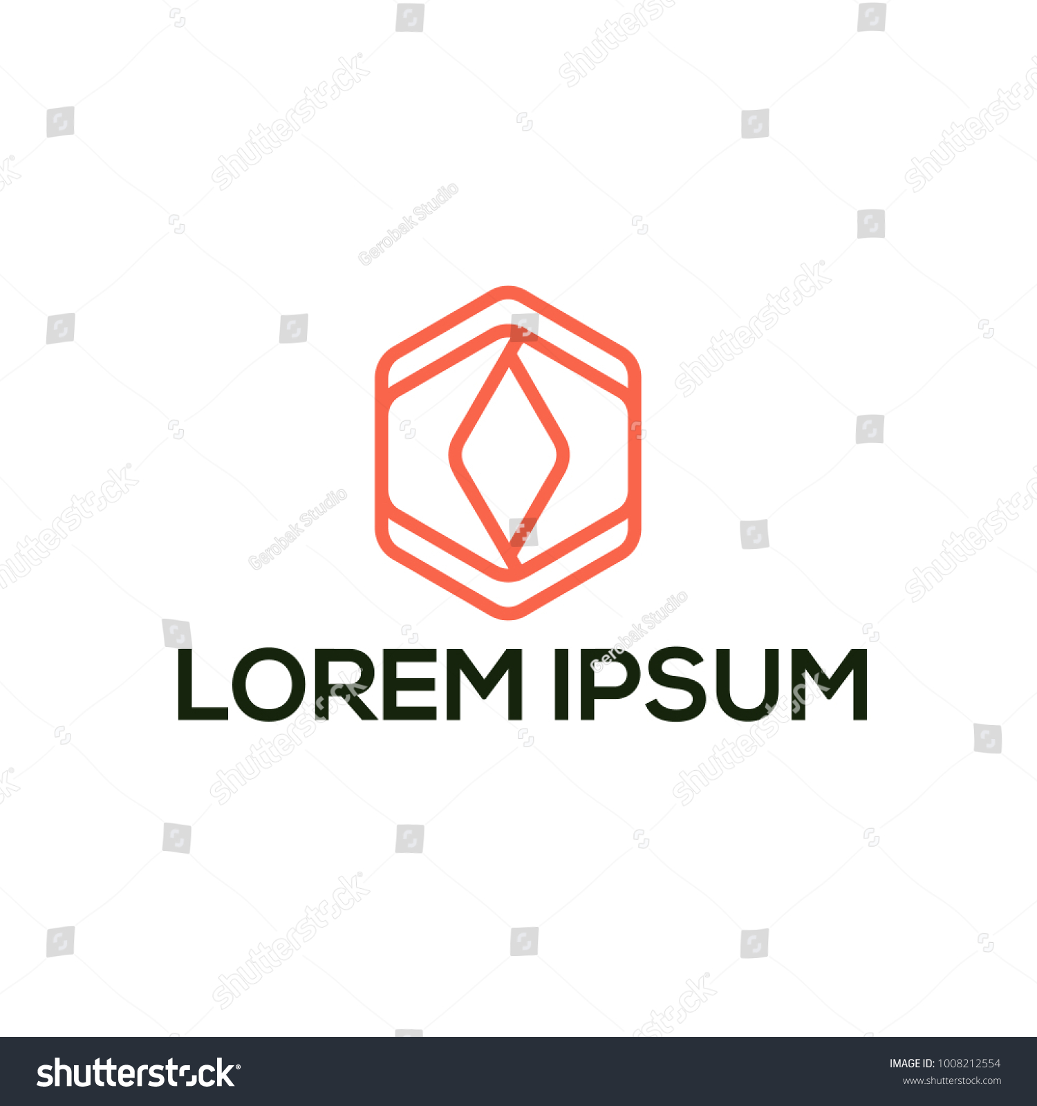 Minimalist Geometric Logo Ouline Icon Vector Stock 1008212554