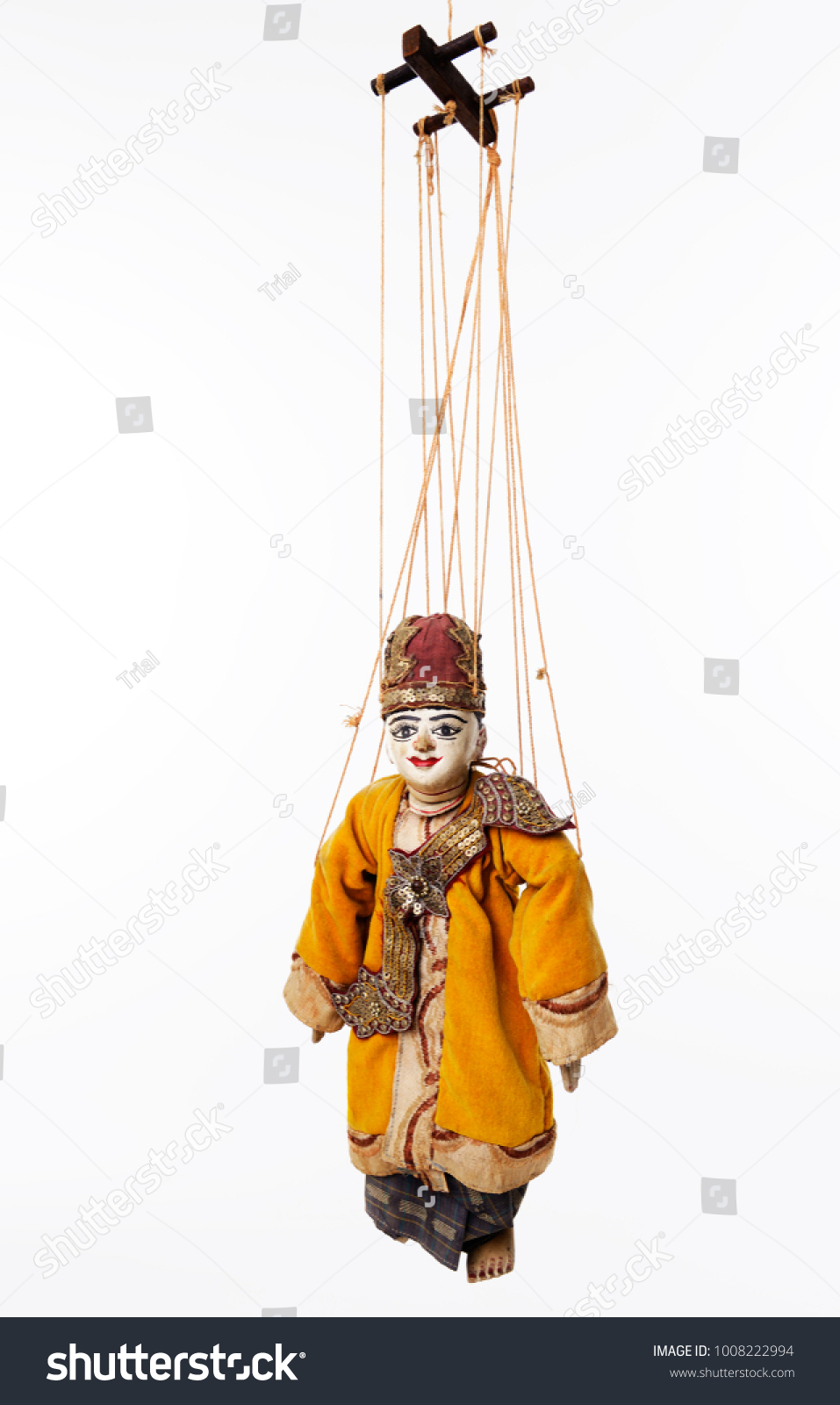 Suspended By Wires Ancient Asian Wooden Stock Photo 1008222994 ...