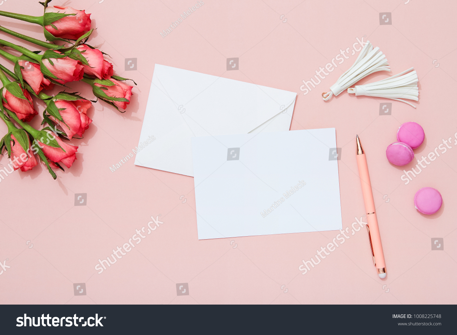 Celebration greeting card envelope roses on stock photo 1008225748 celebration greeting card envelope and roses on pink background valentines day flat lay kristyandbryce Gallery