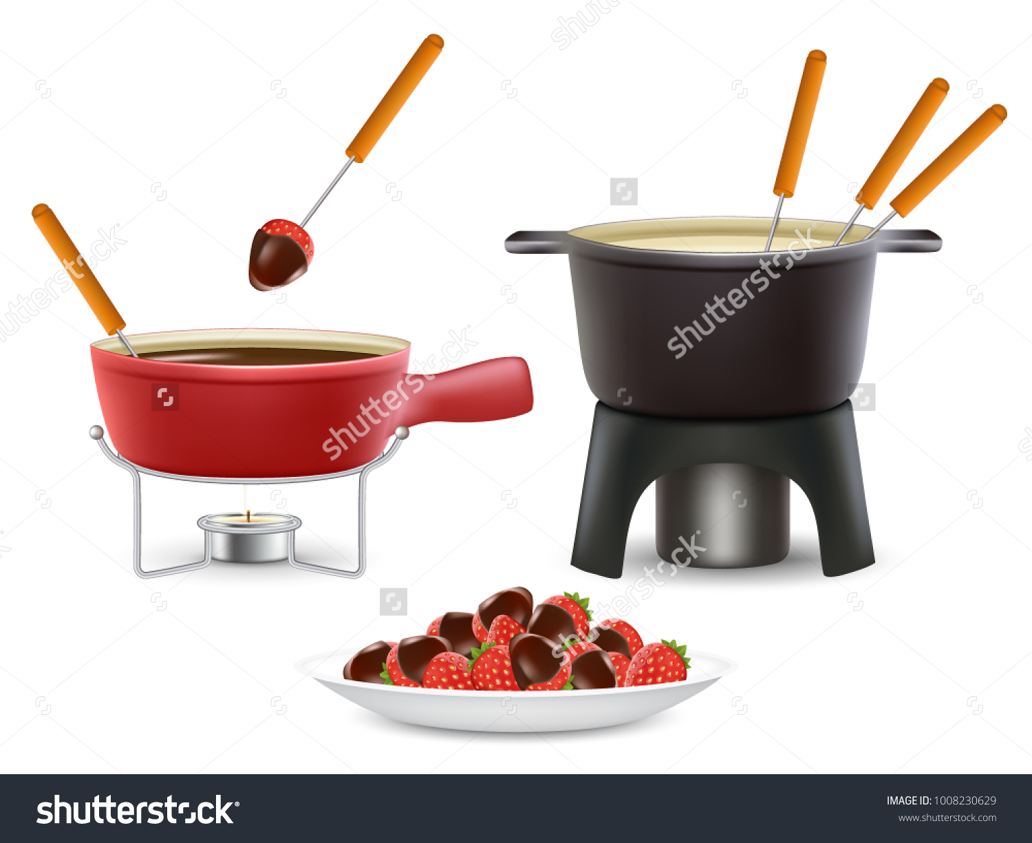 Cheese Chocolate Fondue Icon Set Vector Food And Drink