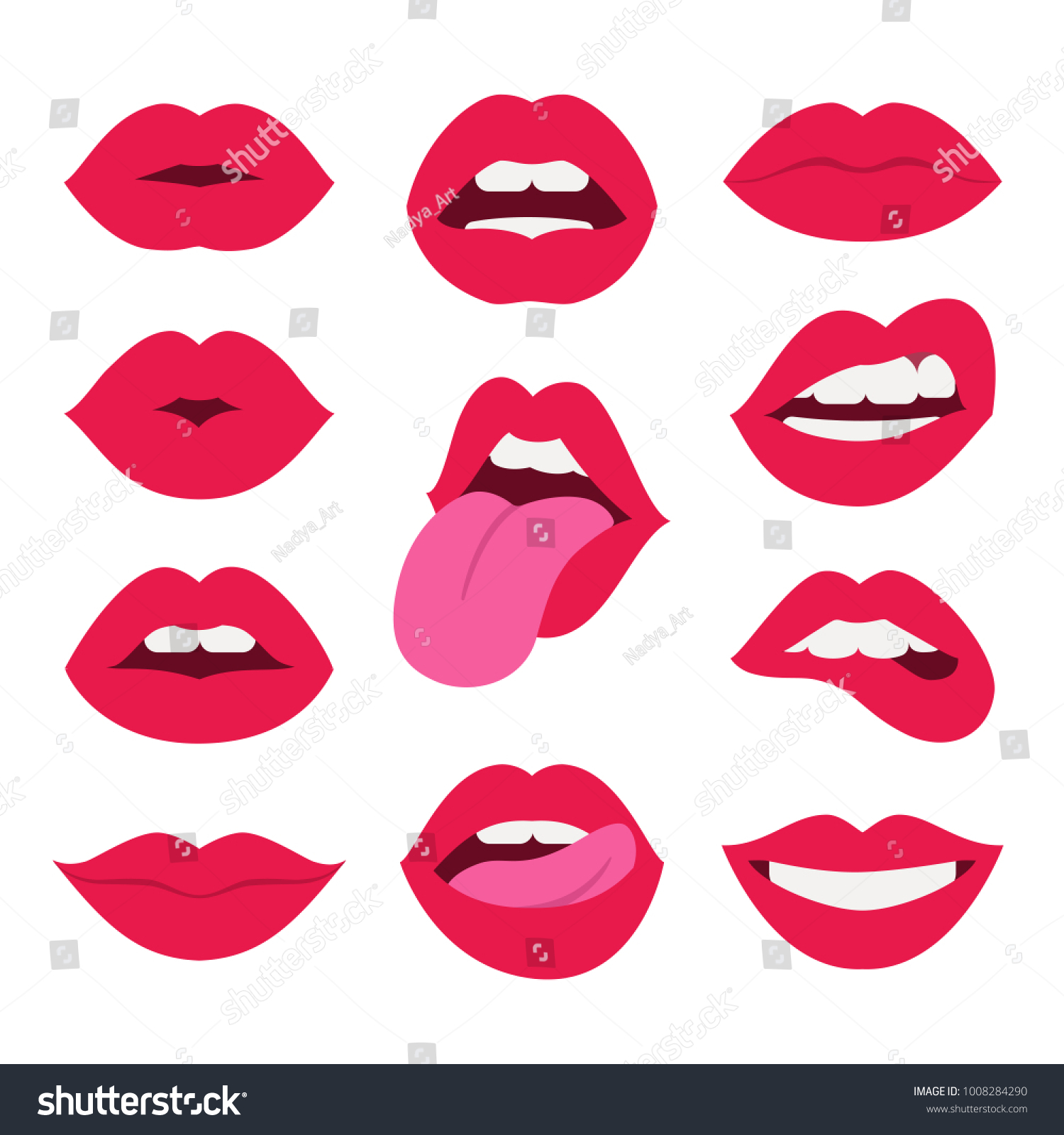 Red lips collection. Vector illustration of sexy woman's flat lips expressing different emotions, such as smile, kiss, half-open mouth, biting lip, lip licking, tongue out. Isolated on white.