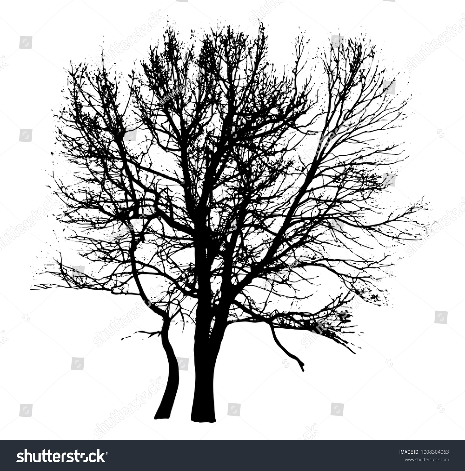Silhouette Winter Tree Without Leaves On Stock Vector Royalty Free