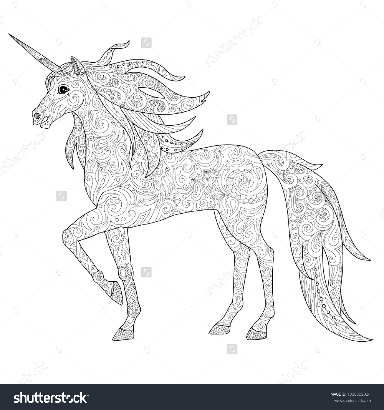 Unicorns horse page for adult coloring book magical animal vector illustration