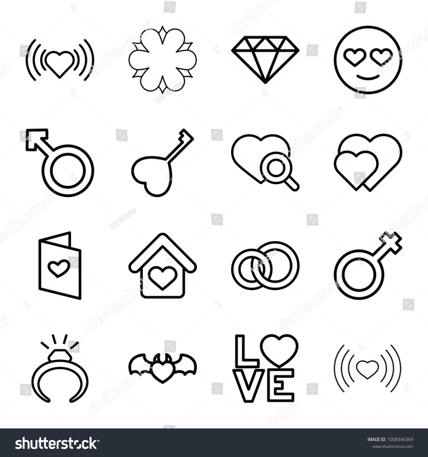 Romance icons set 16 editable outline stock vector 1008346369 romance icons set of 16 editable outline romance icons such as ring heart biocorpaavc Images