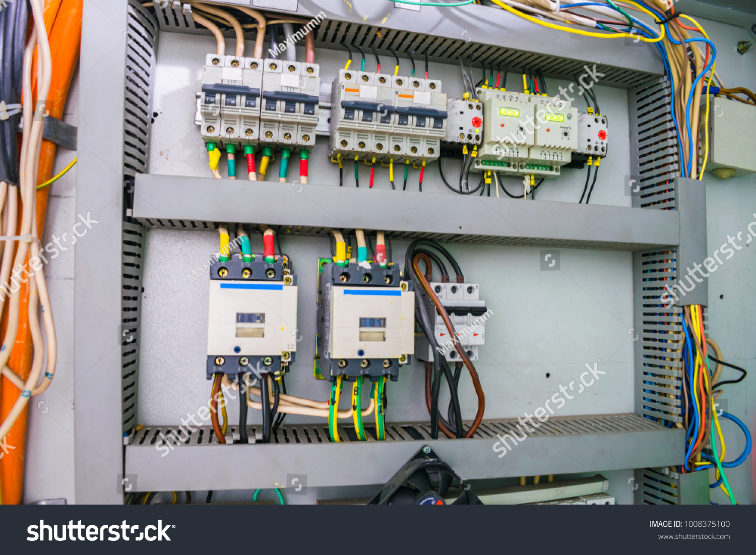 Fuse Box Electric Relay Automatic Machines Stock Photo Edit Now Elko Current With An And Board High Voltage Switches