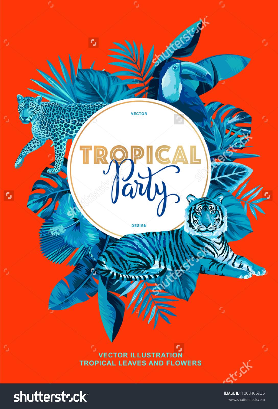 Tropical Hawaiian Party Invitation Wild Animals Stock Vector ...