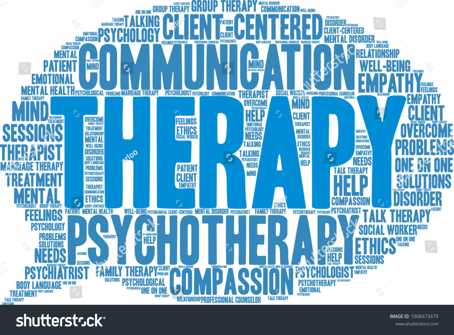 Therapy Word Cloud On White Background Stock Vector (Royalty