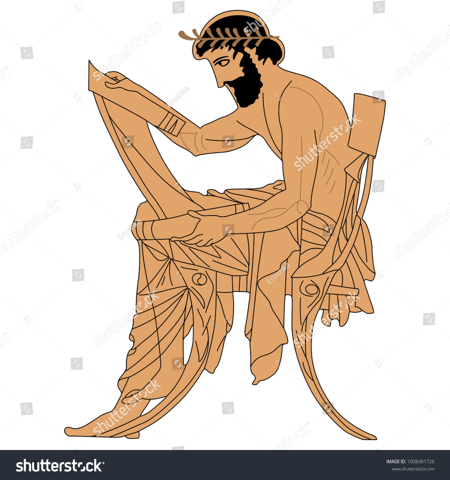 Seated Ancient Greek Man With A Scroll Based On Authentic Vase