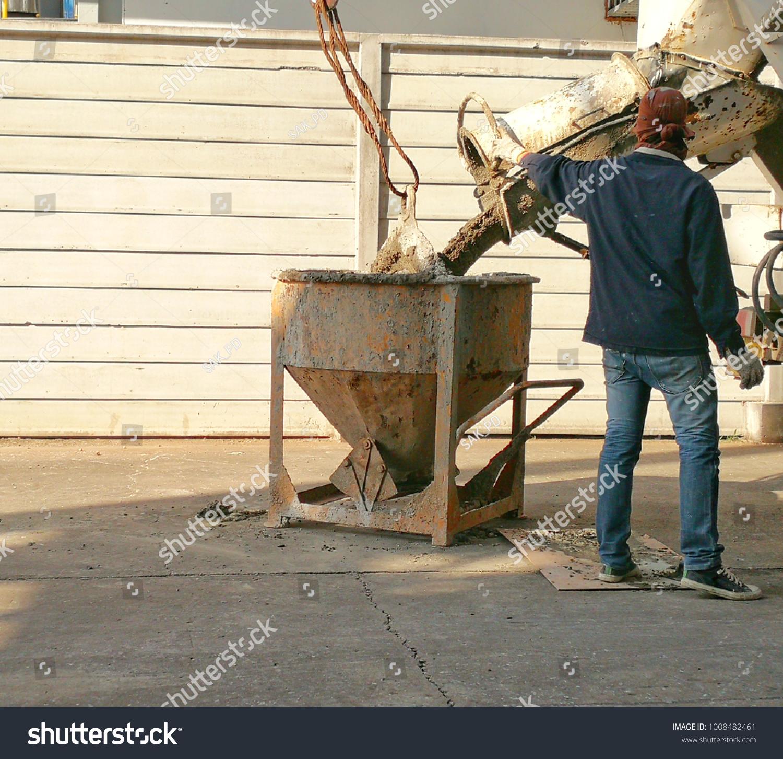 Man Filling Cement Cement Mixer Bucket Stock Edit Now