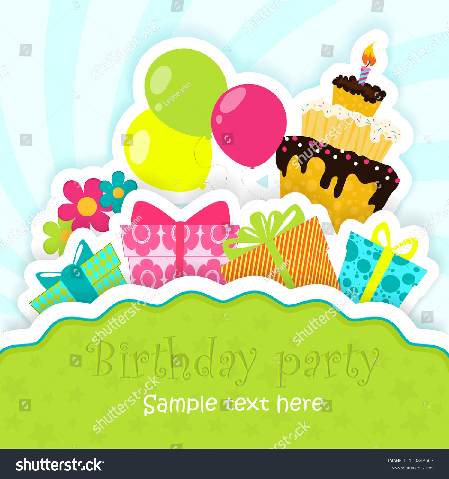 Birthday Greeting Card Cake Gifts Balloons Stock Vector Royalty