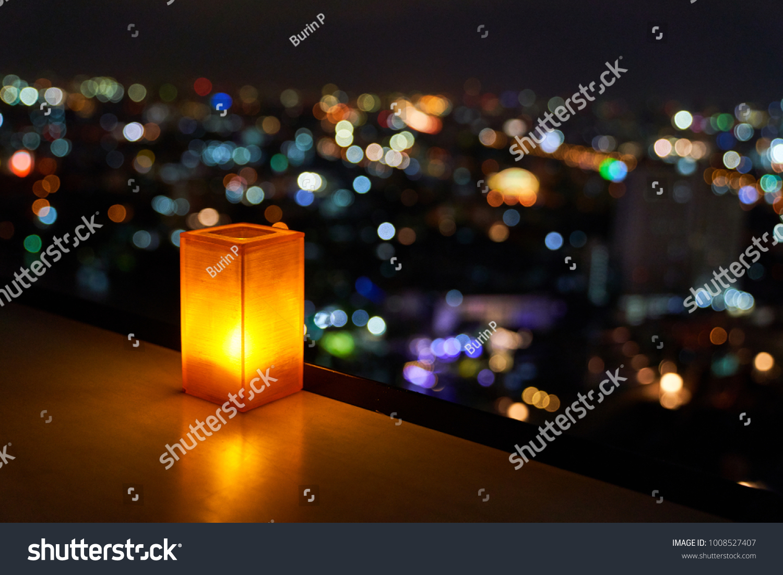 Fine Orange Shade Rectangular Table Lamp Blur Stock Photo Edit Home Interior And Landscaping Ponolsignezvosmurscom