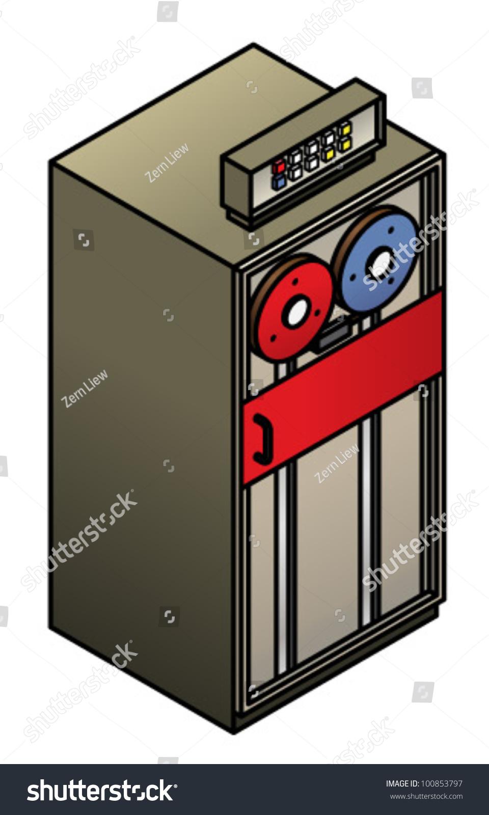 Vintage Computing Tape Drive เวกเตอร์สต็อก (ปลอดค่าลิขสิทธิ์