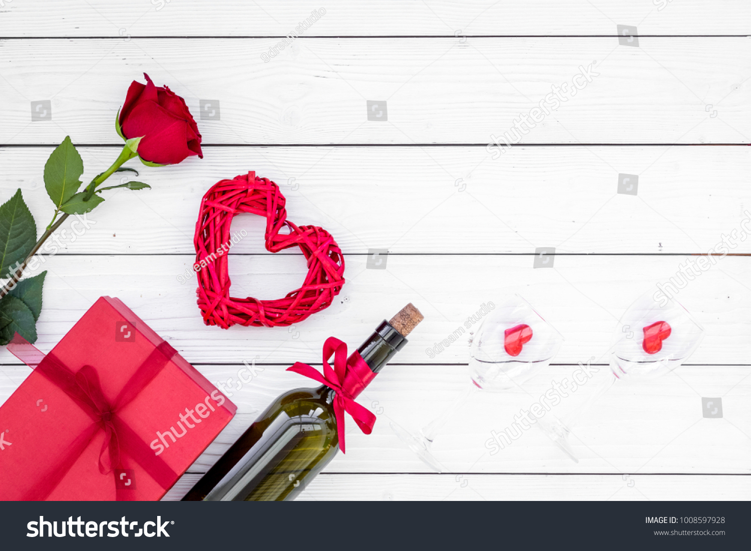 Present Valentine Day Red Colors Wine Stock Photo Edit Now