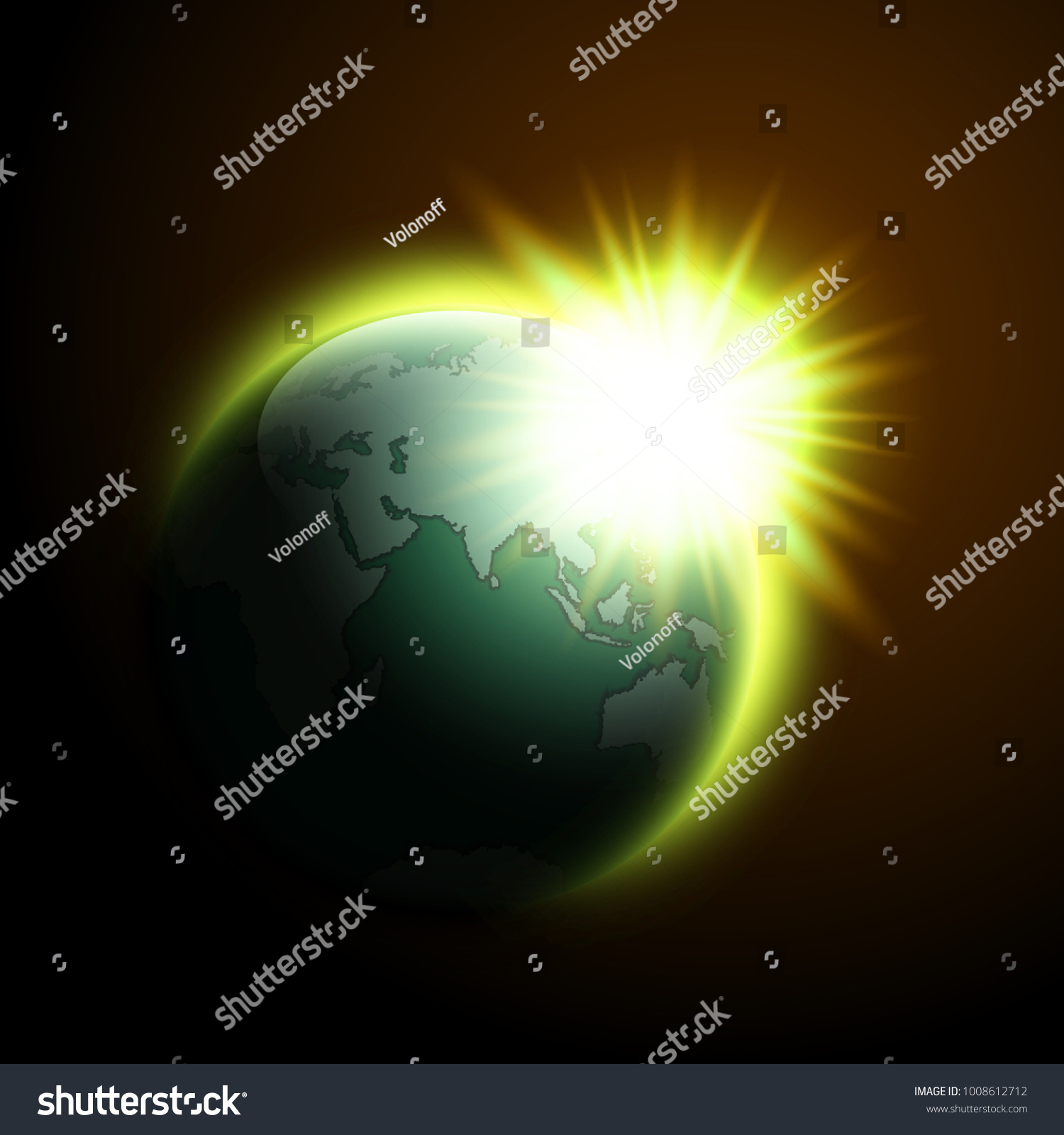 World map rising sun banner globe stock vector 1008612712 shutterstock gumiabroncs Gallery