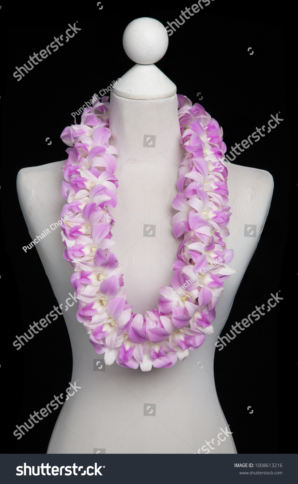 Hawaii flowers lei necklace made orchid stock photo 1008613216 hawaii flowers lei necklace made from orchid flower double light pink dendrobium izmirmasajfo Images