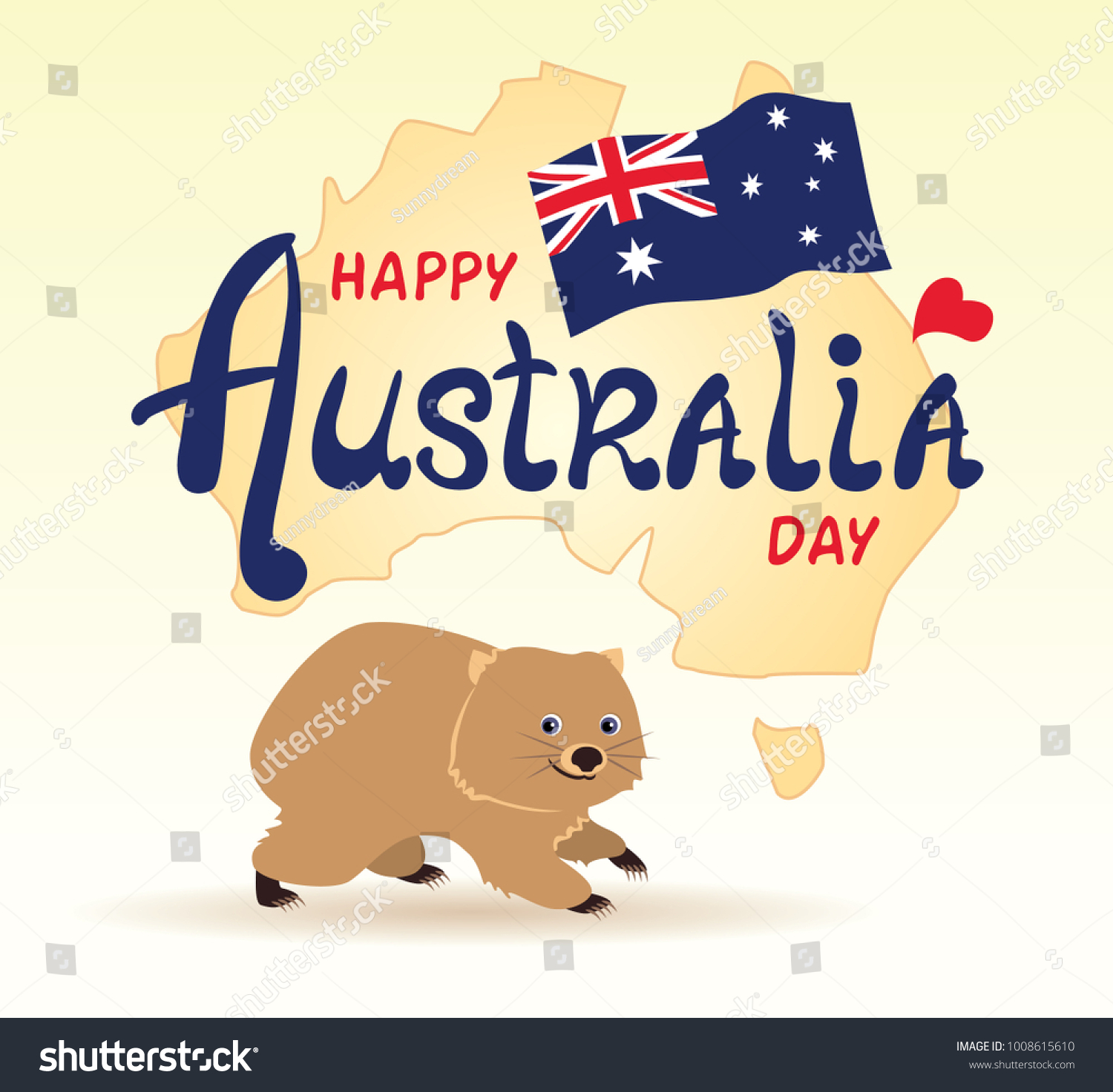 Happy Australia Day Lettering Greeting Card Stock Vector Royalty