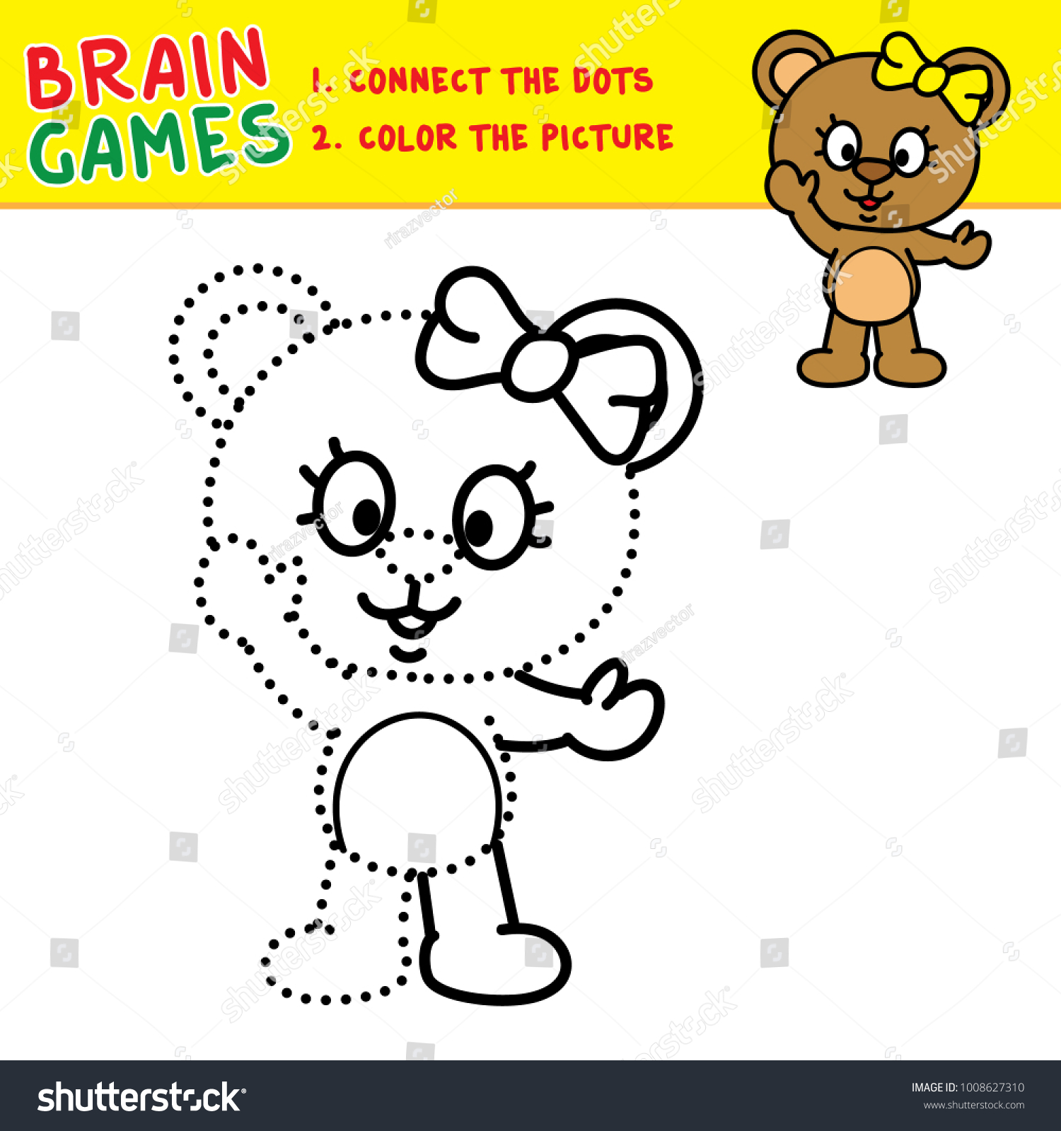 Bear Connecting Dots Coloring Pages Kids Stock Vector (Royalty Free ...