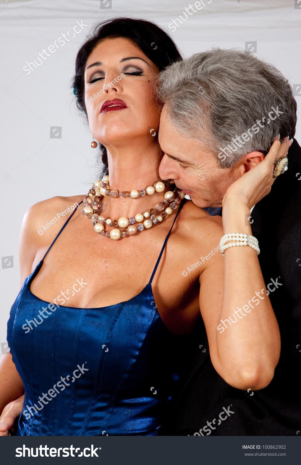 cute white mature couple romantic moment stock photo (royalty free