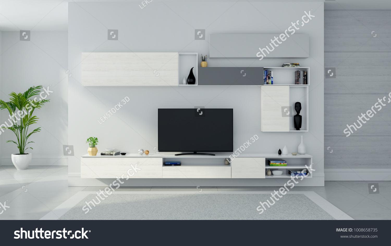 TV Cabinet Interior Modern Room Design Stock Illustration 1008658735 ...