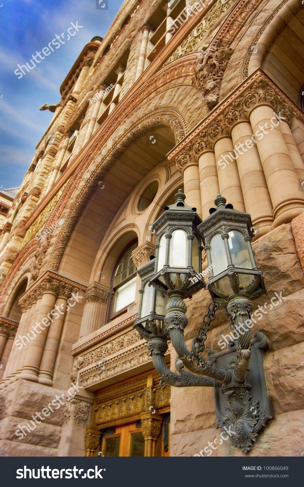 Street light on Old City Hall. Downtown Torornto.