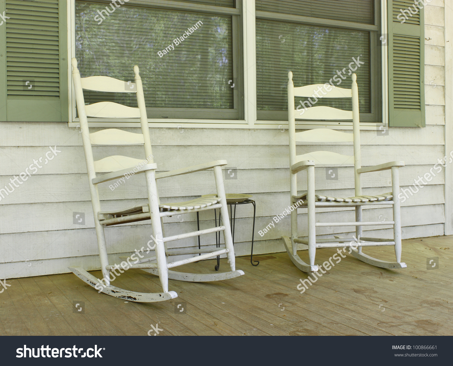Two Old White Painted Wooden Rocking Stock Photo 100866661