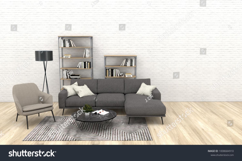 Modern Interior Living Room Dark Grey Stock Illustration 1008684910 ...