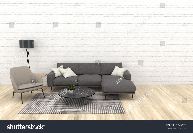 Modern Interior Living Room Dark Grey Stock Illustration 1008688807 ...
