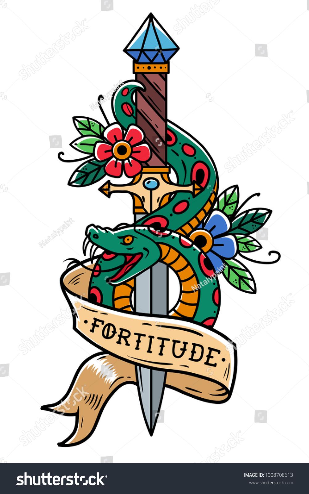 Vector Tattoo Dagger Green Snake Flower Stock Vector Royalty Free