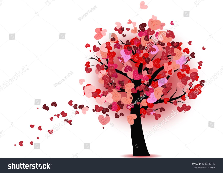 Valentine tree heart leaves valentines tree stock vector royalty valentine tree with heart leaves valentines tree illustration heart shaped leaves on tree mightylinksfo