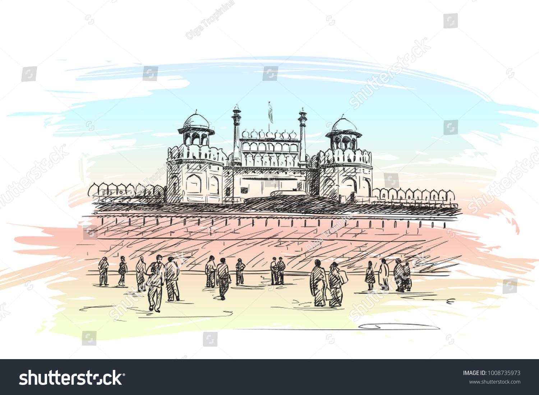 Sketch Red Fort Unesco World Heritage Stock Vector 1008735973 ...