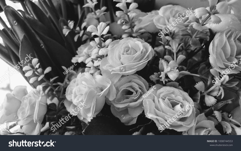 Artificial Flower Bouquet Window Black White Stock Photo Edit Now