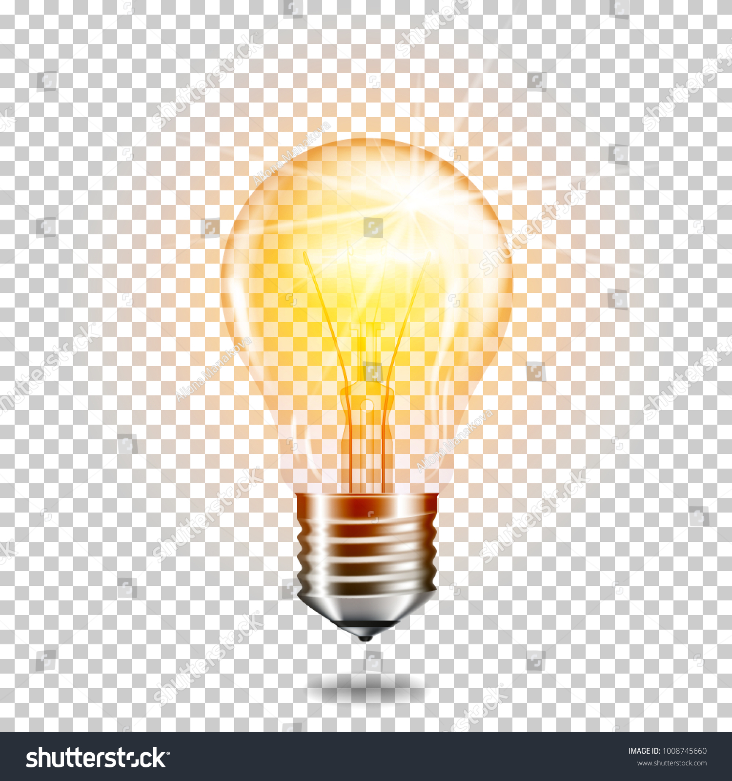 Transparent realistic glowing light bulb, isolated. #1008745660