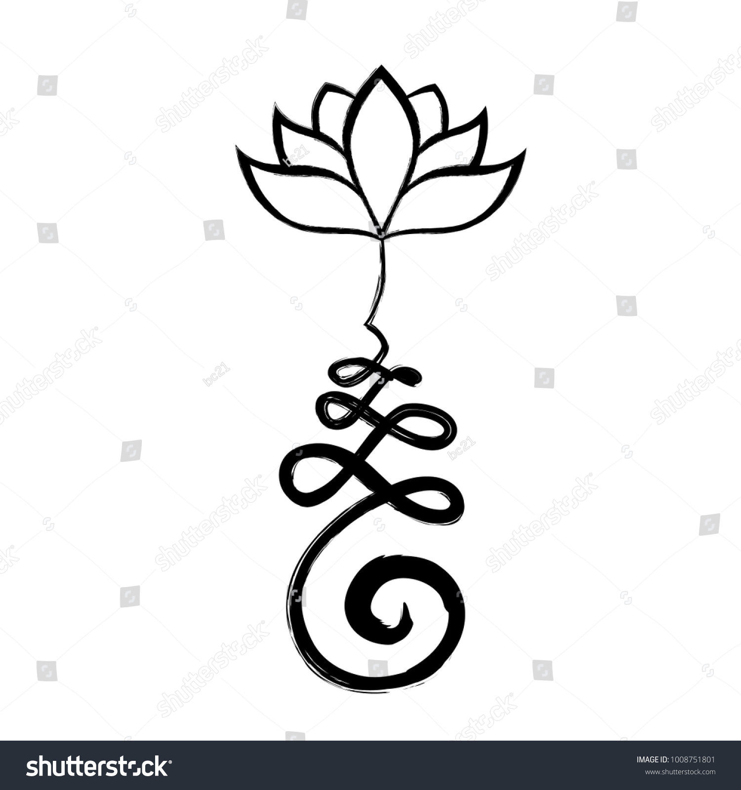 Buddhist Symbol Unalome Lotus Flower Stock Vector Royalty Free