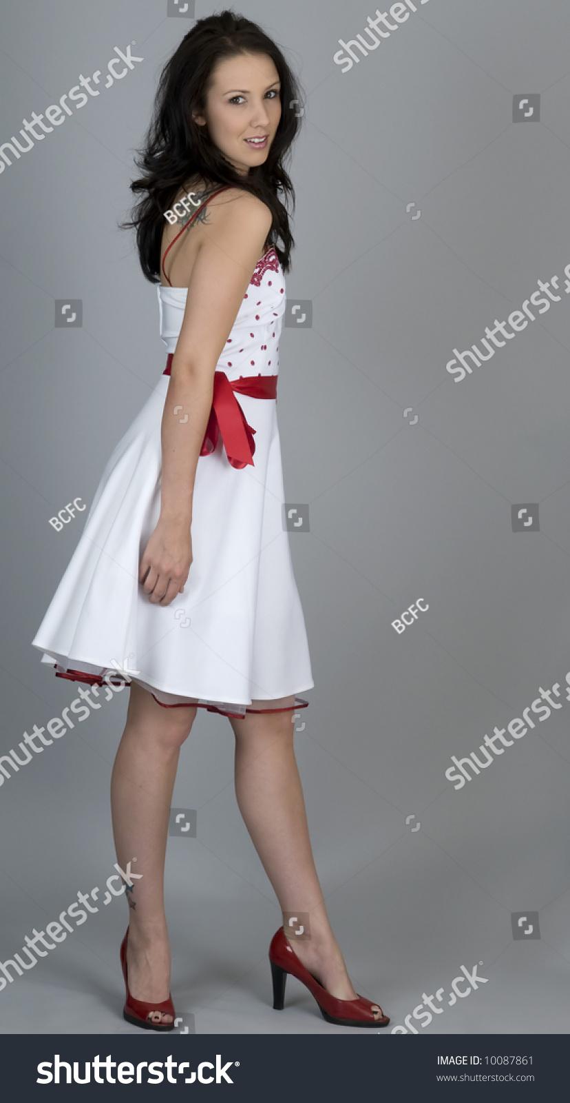 Woman Wearing Retro 1950s Style White Stock Photo 10087861 ...