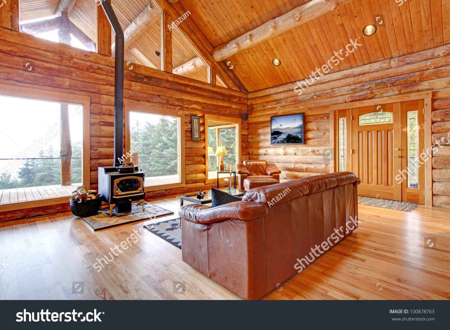 Large Luxury Log Cabin House Living Room With Large