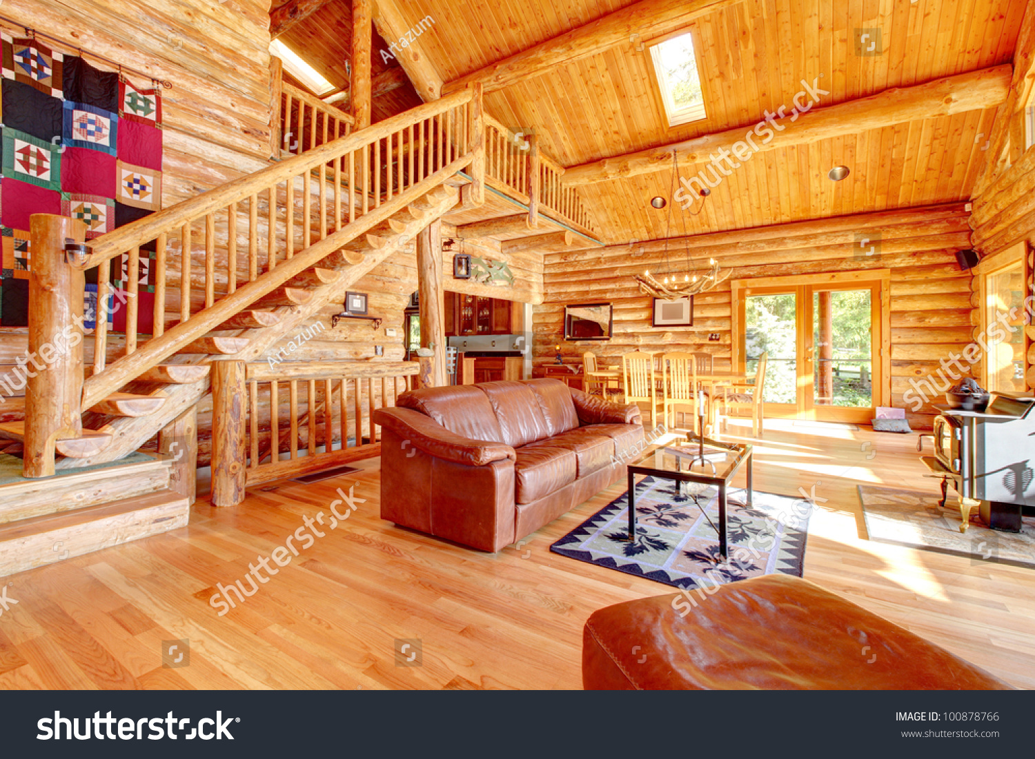 Large luxury log cabin house living stock photo 100878766 for Large luxury log homes
