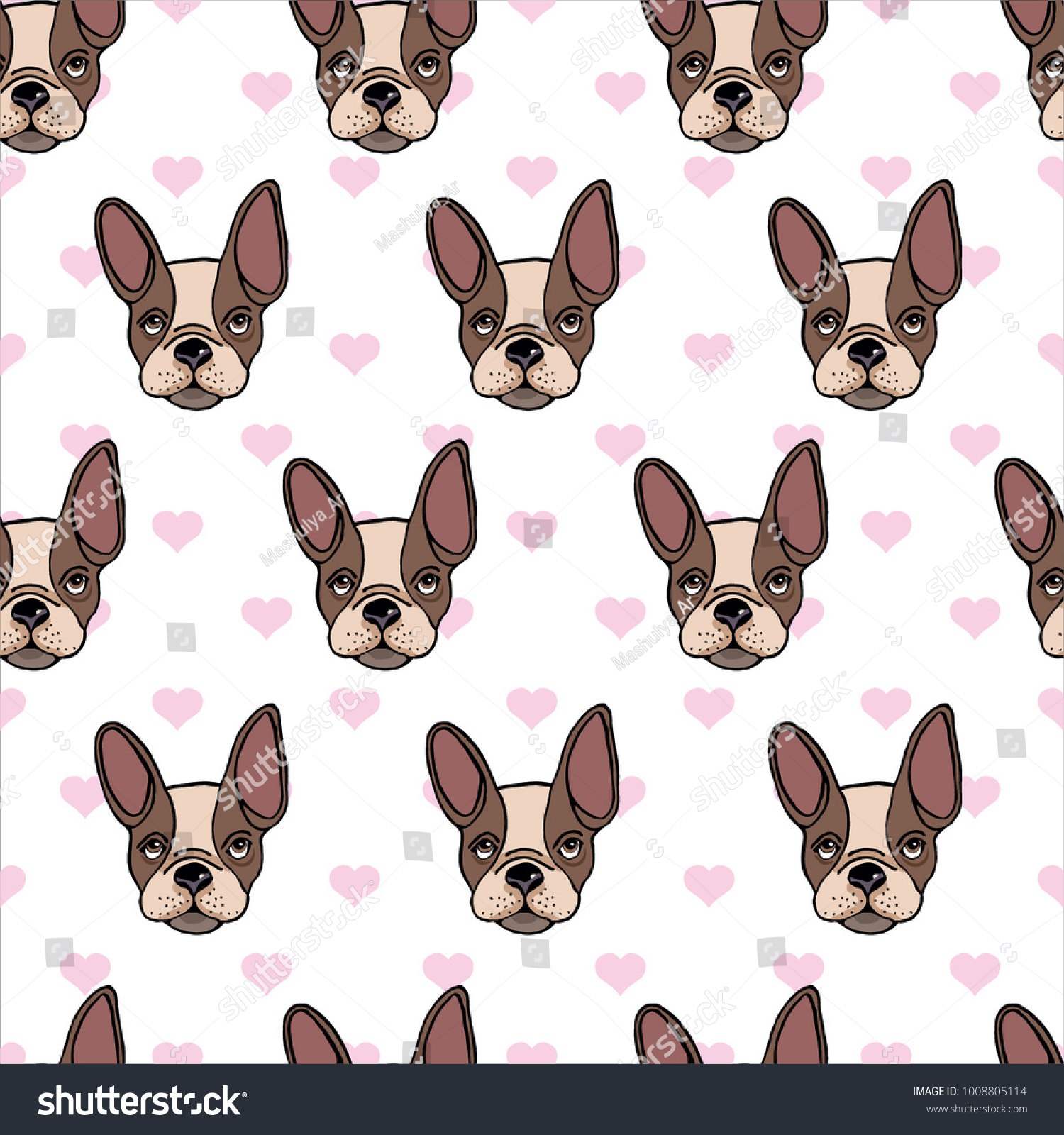 Seamless Pattern Dog Breed Pug Red Stock Vector 1008805114 ...