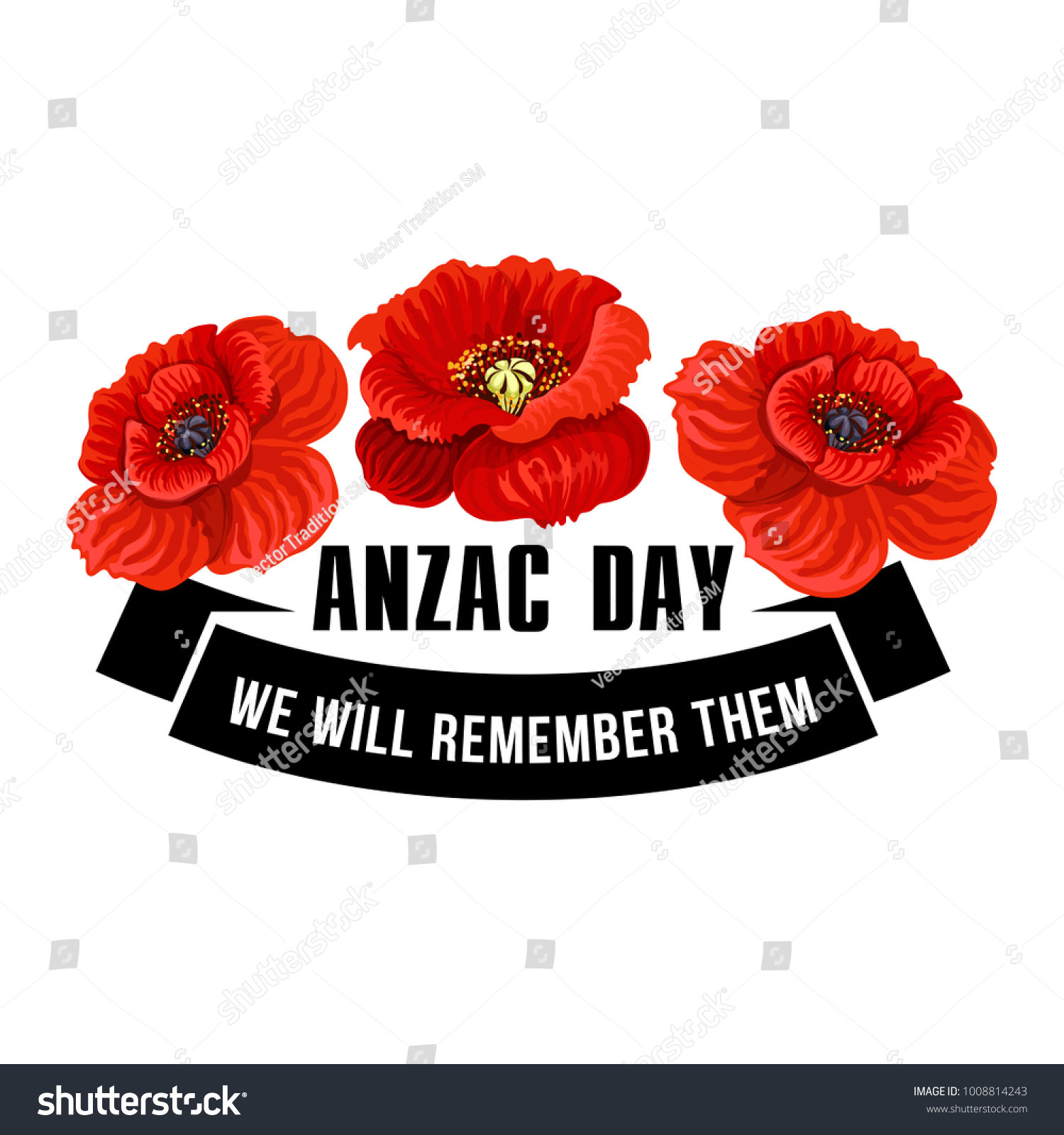 Anzac Day Flower Symbol Red Poppy Stock Vector Royalty Free