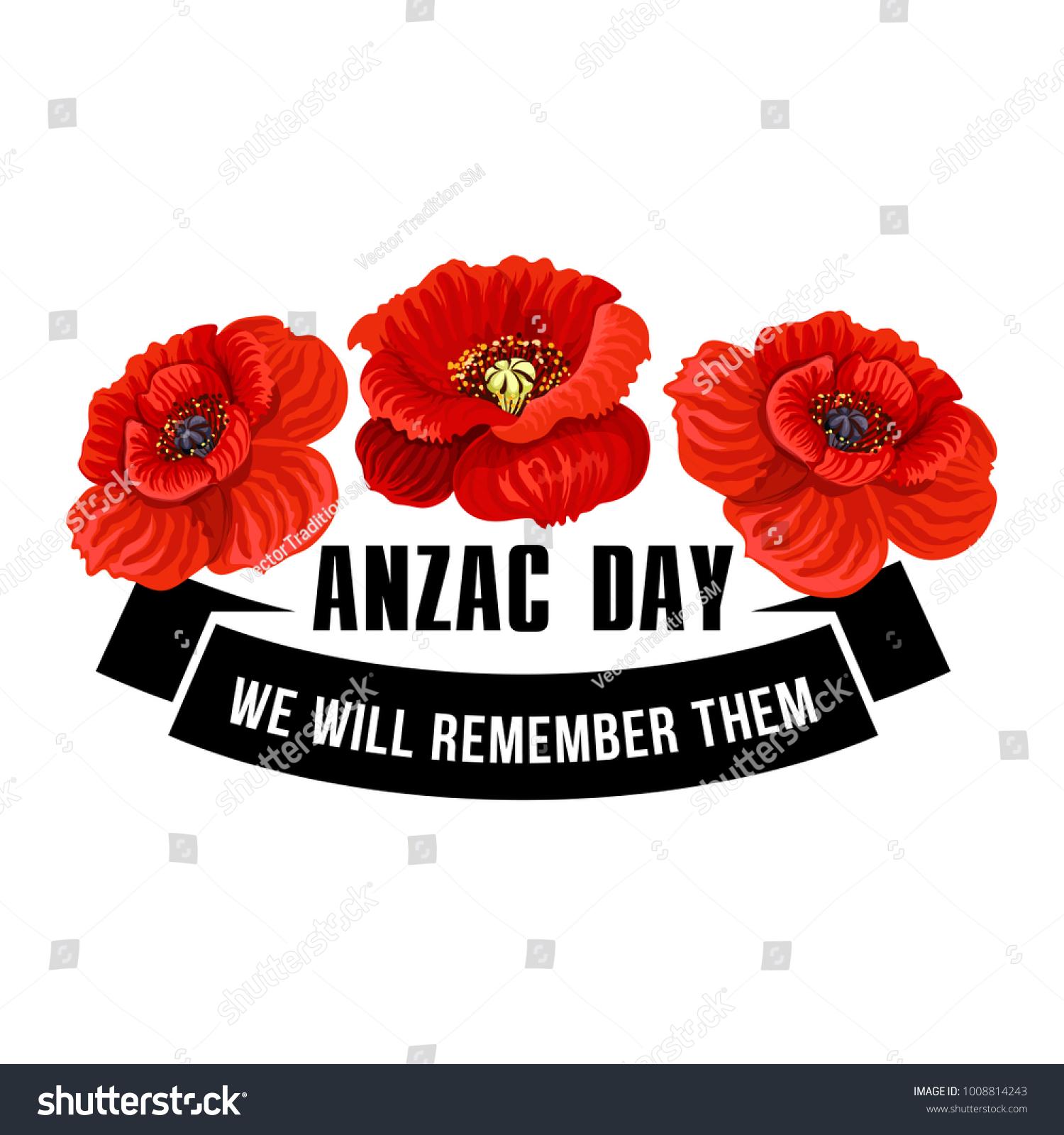 Anzac Day Flower Symbol Red Poppy Stock Vector 1008814243 Shutterstock