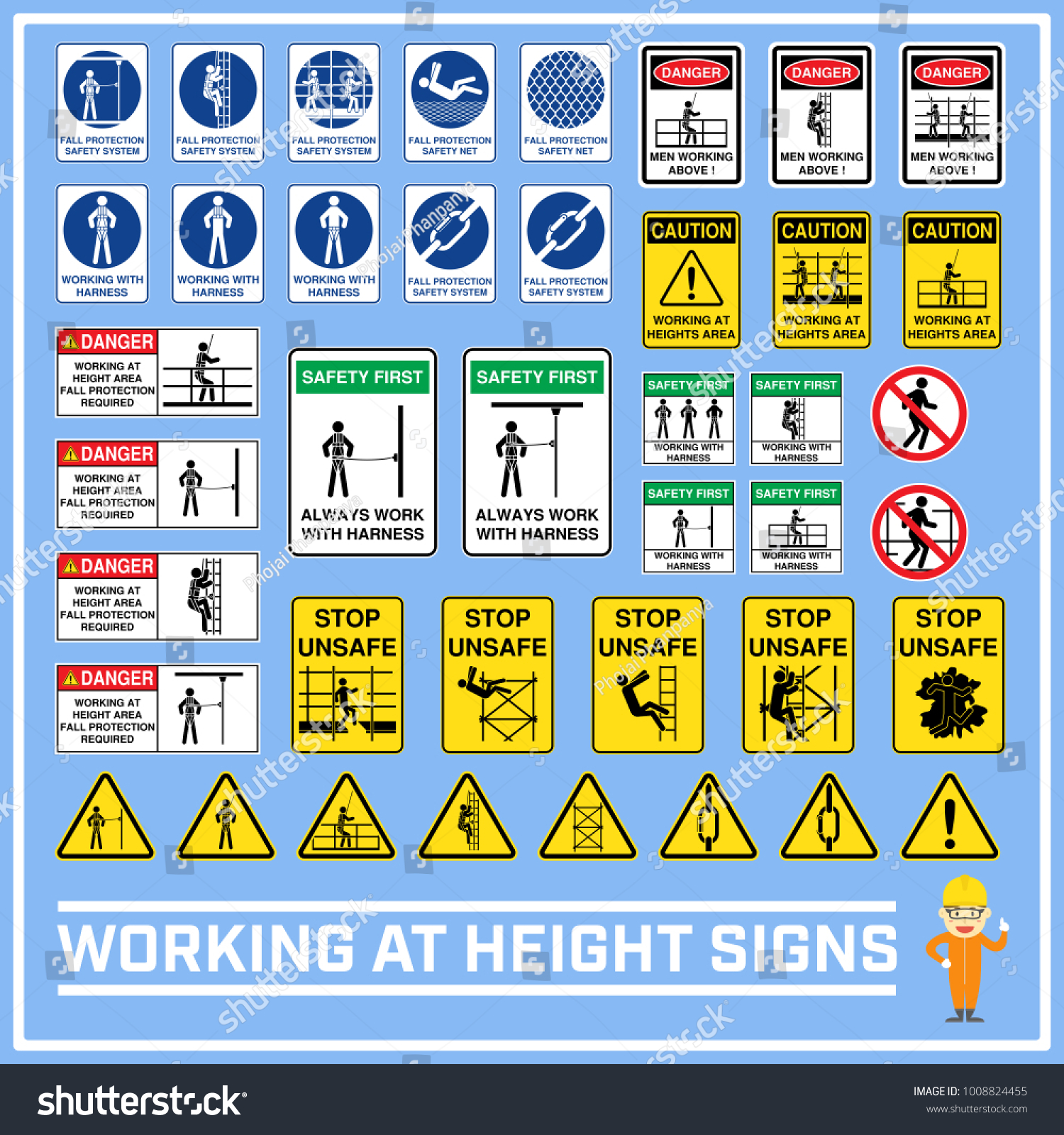 Set safety caution signs symbols working stock vector 1008824455 set of safety caution signs and symbols of working at heights working at height signs buycottarizona Choice Image