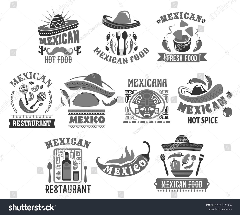 Mexican Restaurant Icons Set Sombrero Hat Stock Vector Royalty Free