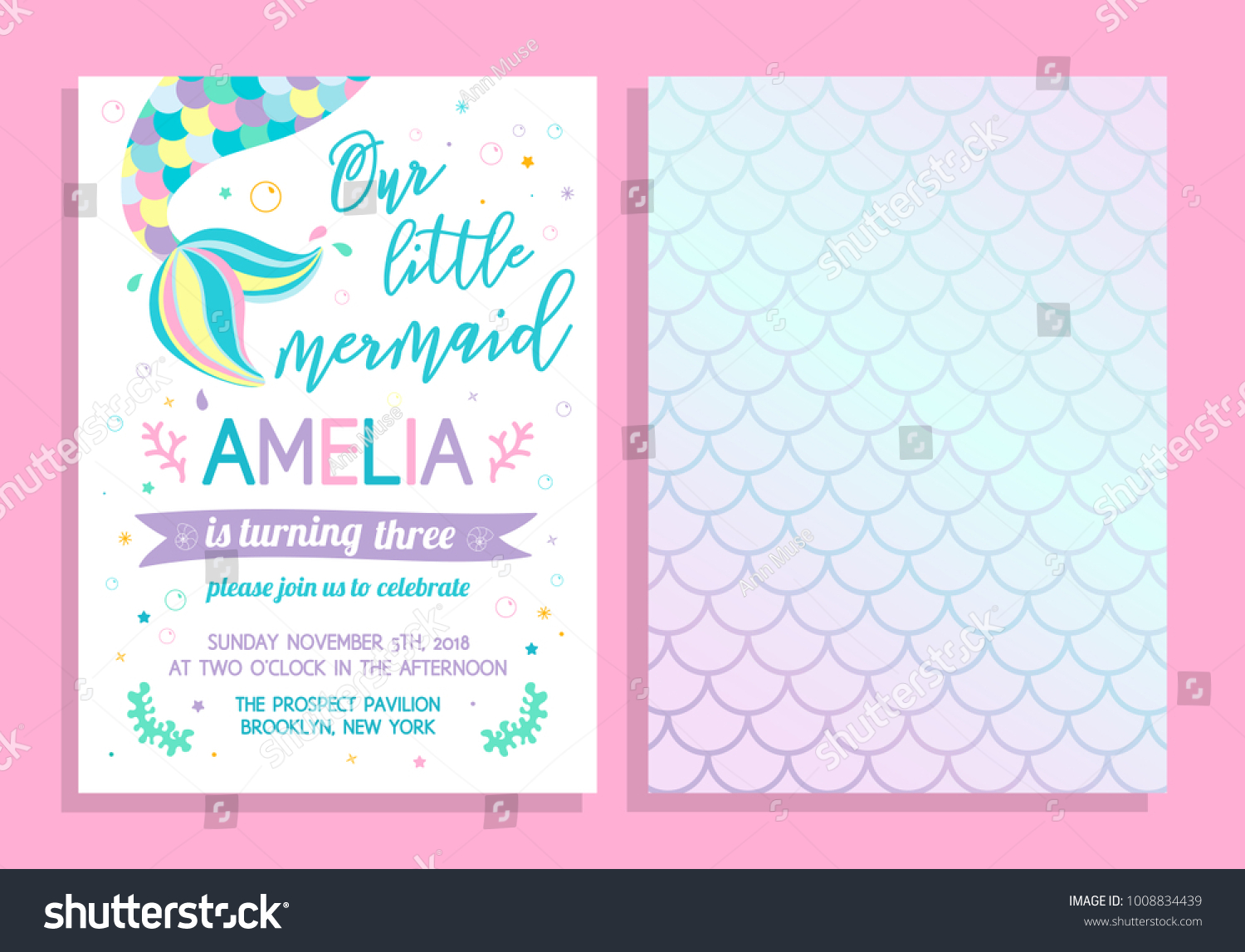 Cute Birthday Party Invitation Our Little Stock Photo Photo Vector