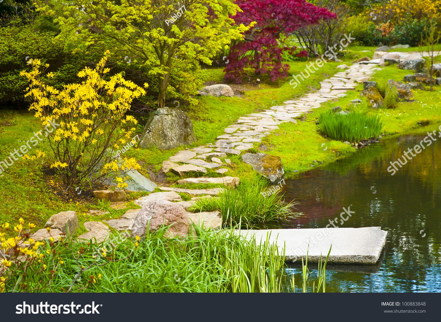 Path in japanese water garden stock photo 100883848 for Water in japanese