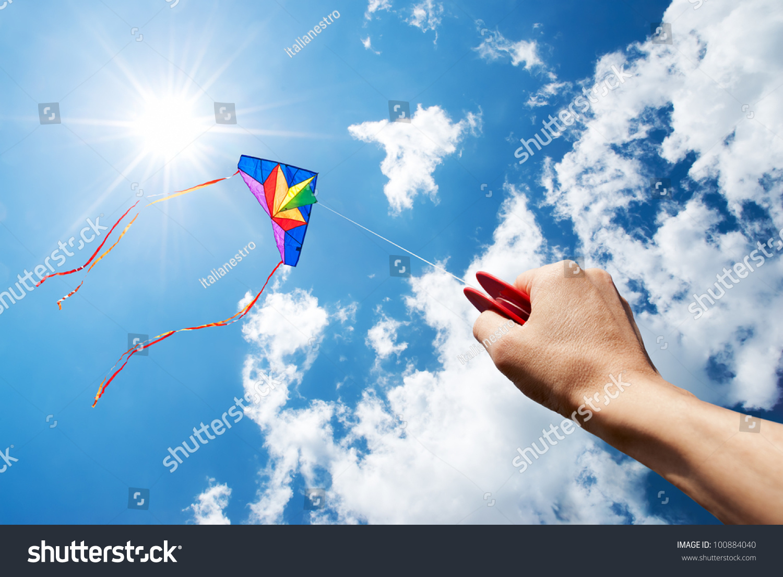 Kite Flying Beautiful Sky Sun Clouds Stock Photo 100884040